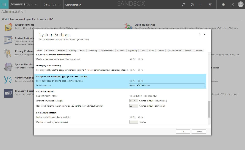 System Settings - General Tab - Default App Options