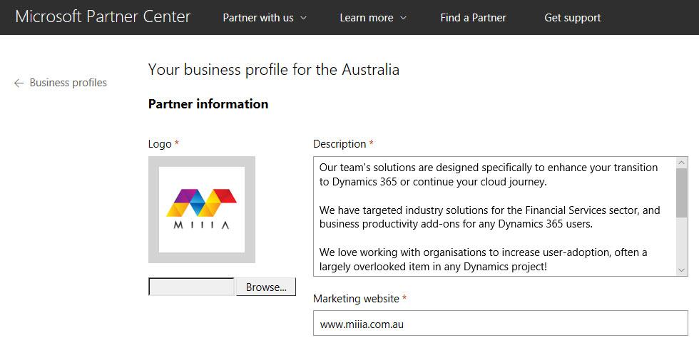 Partner Center Business Profile